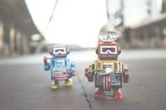 Vecchio giocattolo del robot, stile d'annata di colore Fotografie Stock Libere da Diritti