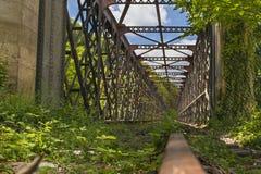 Vecchio giorno di estate soleggiato del ponte ferroviario Fotografia Stock