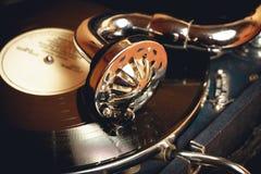 Vecchio grammofono del giradischi Fotografia Stock Libera da Diritti