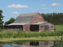 Vecchio granaio di legno dell'azienda agricola nella prateria americana. Fotografia Stock