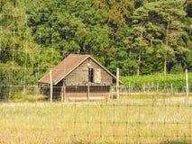 Vecchio granaio di legno dietro il recinto Fotografia Stock