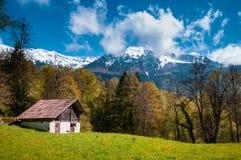 Vecchio granaio svizzero nel museo dell'aria aperta di Ballenberg, Brienz, Switzerlan Immagine Stock
