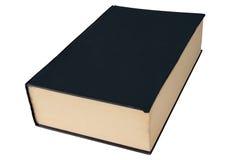 Vecchio grande libro nero della libro con copertina rigida isolato su bianco. Fotografie Stock