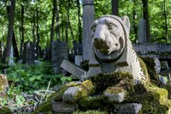 Vecchio granito Lion Daylight Summer del cimitero fotografia stock libera da diritti