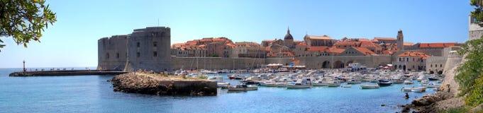 Vecchio hdr di panorama del porto di Dubrovnik Fotografie Stock