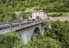 Vecchio hotel abbandonato a Serra Bridge a Belluno, Italia Fotografia Stock