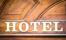 Vecchio hotel-segno Immagini Stock