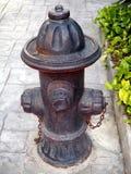 Vecchio idrante antincendio rosso d'annata sul sentiero per pedoni fotografie stock libere da diritti