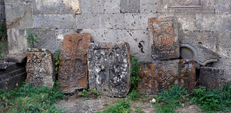 Vecchio incrocio (khachkar) nel Tatev monestry, Armenia Immagine Stock