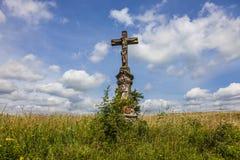 Vecchio incrocio nel campo, repubblica Ceca Fotografie Stock