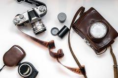 Vecchio insieme della foto Disposizione piana Fotografie Stock