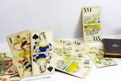 Vecchio insieme di carta dei tarocchi dall'Ungheria Fotografia Stock Libera da Diritti