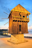 Vecchio laminatoio di legno in Bulgaria nessebar Fotografie Stock Libere da Diritti