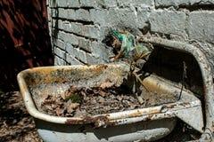 Vecchio lavandino arrugginito corrotto nella foresta fotografie stock