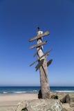 Vecchio legno con le insegne sulla spiaggia Immagini Stock