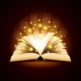 Vecchio libro aperto con il fondo leggero magico di vettore Immagine Stock