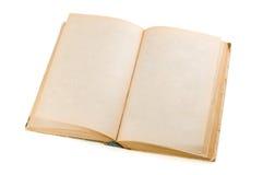 Vecchio libro aperto isolato su bianco Fotografie Stock Libere da Diritti