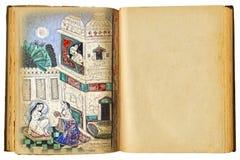 Vecchio libro con l'illustrazione immagine stock