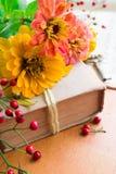 Vecchio libro con le bacche arancio di zinnia, di chiave e di autunno Immagine Stock