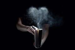Vecchio libro e cuore polveroso fotografie stock