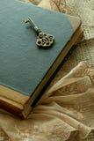 Vecchio libro e vecchio tasto - retro composizione Fotografia Stock Libera da Diritti