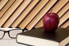Vecchio libro e vetri sullo scaffale di legno fotografia stock libera da diritti