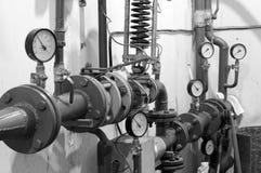 Vecchio locale caldaie Sistema di riscaldamento Fotografia Stock Libera da Diritti
