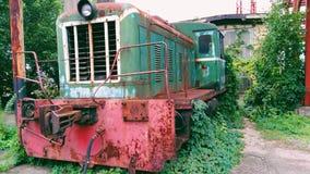 vecchio locomotivo invaso con l'uva selvaggia Immagini Stock