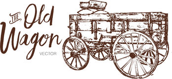 Vecchio logo di legno del vagone, disegno di vettore del carretto immagine stock