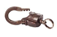 Vecchio lucchetto con la chiave Fotografie Stock Libere da Diritti