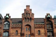 Vecchio magazzino nel porto di Amburgo Immagini Stock Libere da Diritti