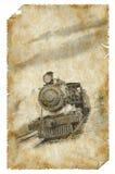 Vecchio manifesto del treno Fotografie Stock Libere da Diritti