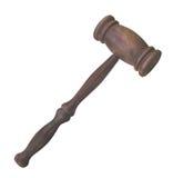 Vecchio martelletto di legno isolato. immagine stock libera da diritti