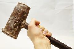 Vecchio martello del ferro Fotografie Stock Libere da Diritti