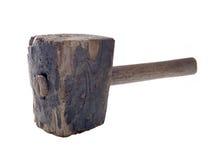 Vecchio martello di legno isolato Fotografie Stock Libere da Diritti