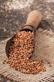 Vecchio mestolo di misurazione con grano saraceno Fotografia Stock