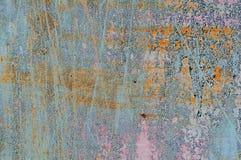 Vecchio metallo arrugginito del fondo e di struttura con pittura blu Fotografia Stock