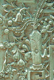 Vecchio modello della porta verde del ferro Immagini Stock