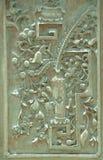 Vecchio modello della porta verde del ferro Fotografie Stock
