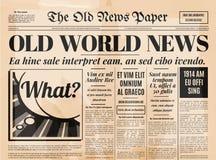 Vecchio modello di vettore di progettazione del giornale Immagini Stock Libere da Diritti