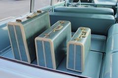 Vecchio modo e blu dei bagagli Fotografie Stock Libere da Diritti