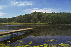 Vecchio molo di legno Streching fuori nel lago Fotografia Stock Libera da Diritti