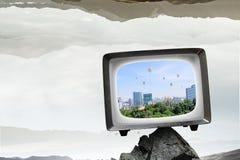 Vecchio monitor della TV Media misti Immagini Stock Libere da Diritti