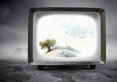 Vecchio monitor della TV Media misti Immagine Stock Libera da Diritti