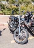 Vecchio motociclo Harley Davidson ad una mostra di vecchie automobili in motociclo detto Harley Davidson ad una mostra di vecchie Immagini Stock Libere da Diritti