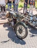 Vecchio motociclo Harley Davidson 1942 ad una mostra di vecchie automobili nella città di Carmiel Immagine Stock Libera da Diritti