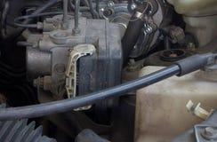 Vecchio motore di automobile sporco Fotografie Stock Libere da Diritti