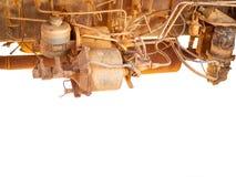 Vecchio motore diesel sporco sul camion sala macchine di vecchia automobile fotografia stock libera da diritti
