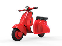 Vecchio motorino rosso dell'annata Fotografia Stock