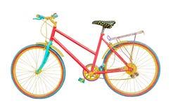 Vecchio mountain bike colorato su fondo bianco fotografia stock libera da diritti